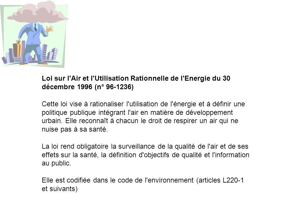 Loi sur l'Air et l'Utilisation Rationnelle de l'Energie du 30 décembre 1996 (n° 96-1236) Cette loi vise à rationaliser l'utilisation de l'énergie et à