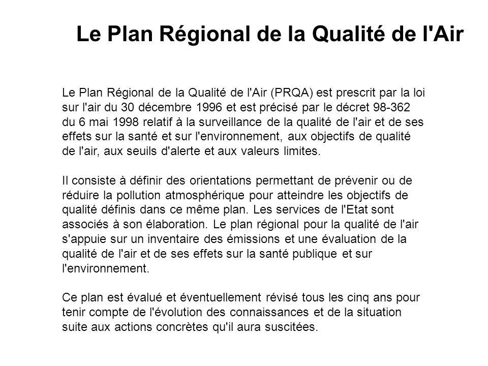 Le Plan Régional de la Qualité de l'Air (PRQA) est prescrit par la loi sur l'air du 30 décembre 1996 et est précisé par le décret 98-362 du 6 mai 1998