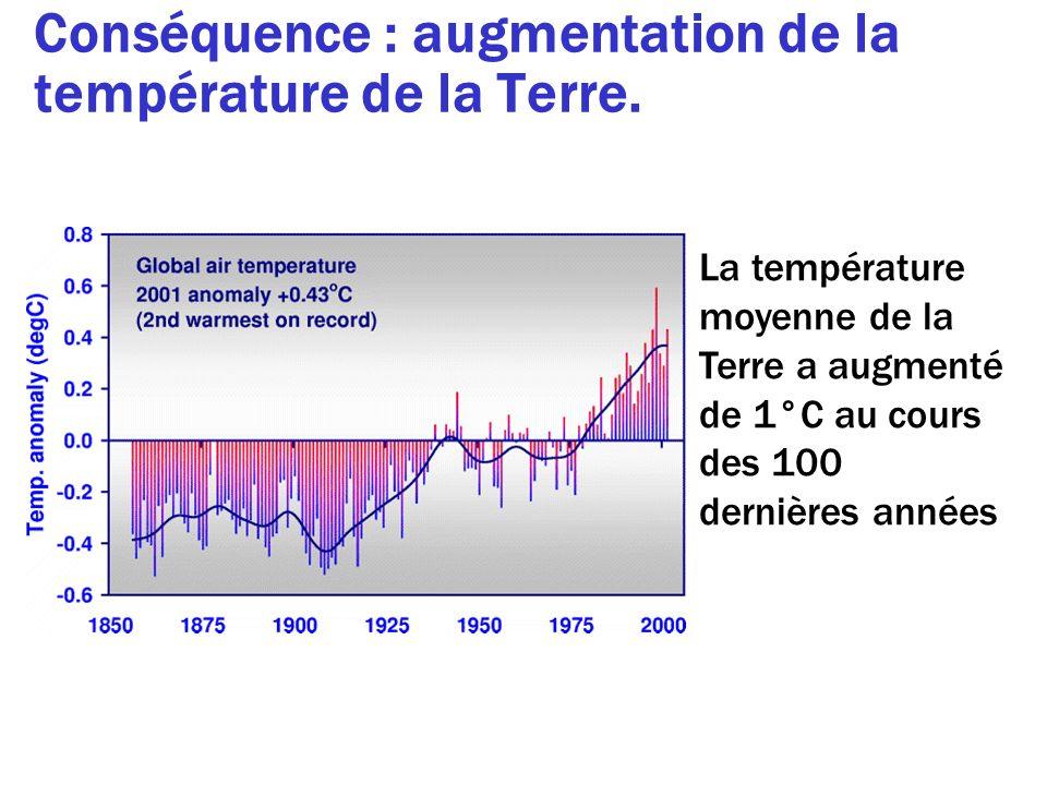 Conséquence : augmentation de la température de la Terre. La température moyenne de la Terre a augmenté de 1°C au cours des 100 dernières années