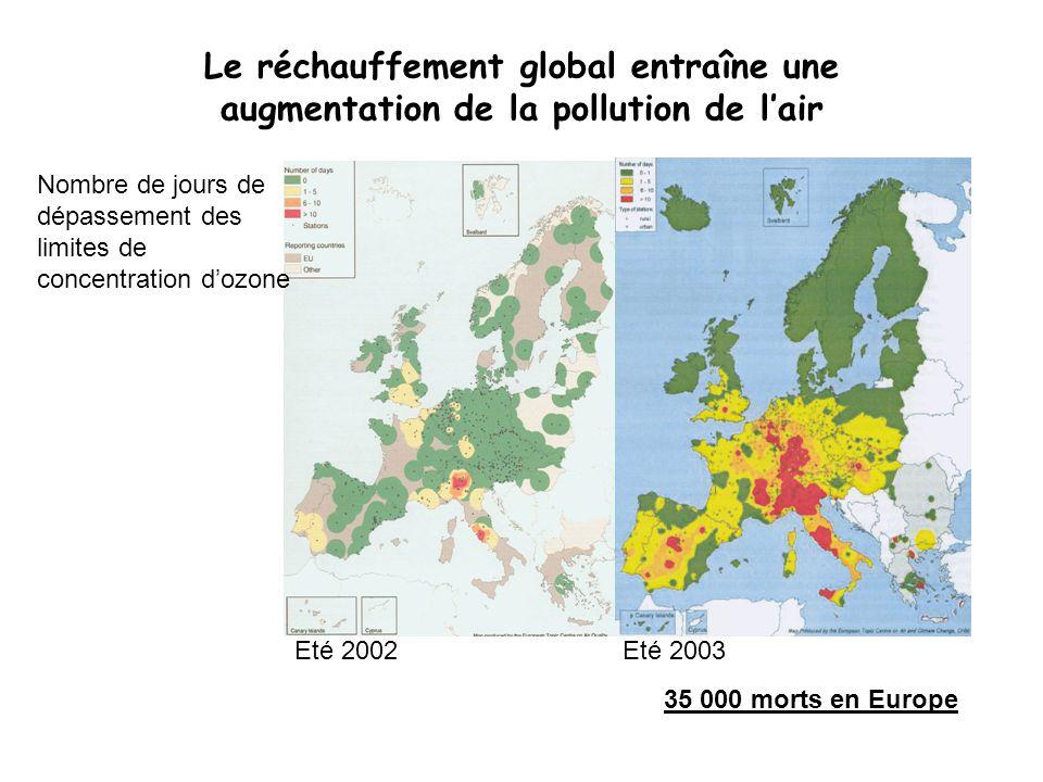 Le réchauffement global entraîne une augmentation de la pollution de lair Eté 2002 Nombre de jours de dépassement des limites de concentration dozone