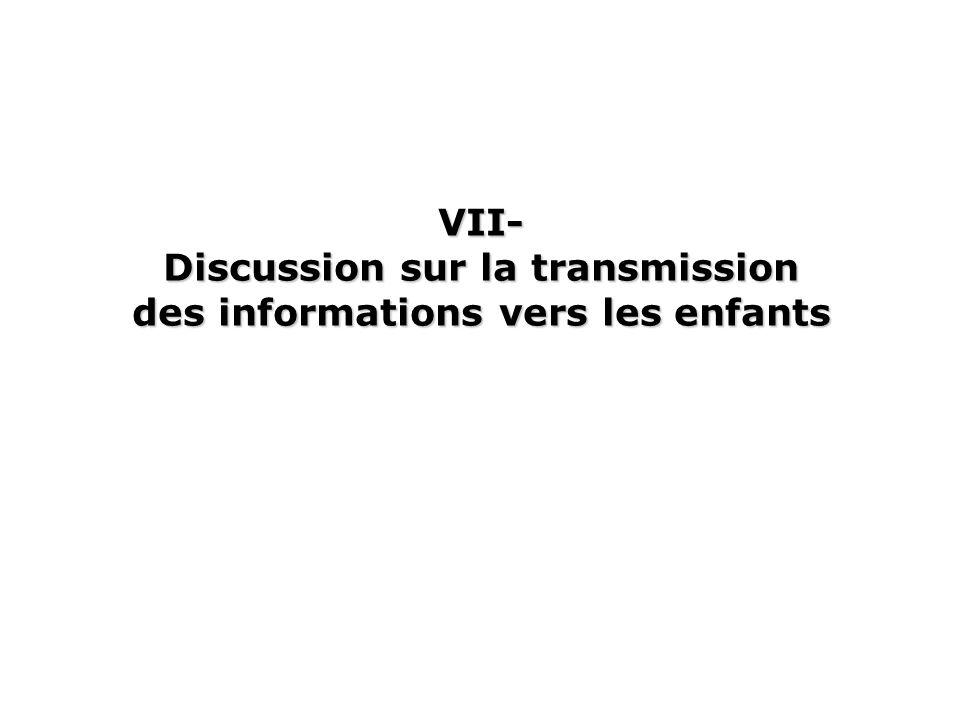 VII- Discussion sur la transmission des informations vers les enfants