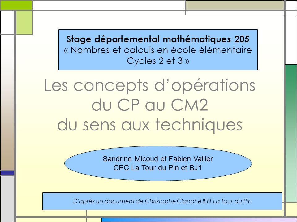 Les concepts dopérations du CP au CM2 du sens aux techniques Stage départemental mathématiques 205 « Nombres et calculs en école élémentaire Cycles 2