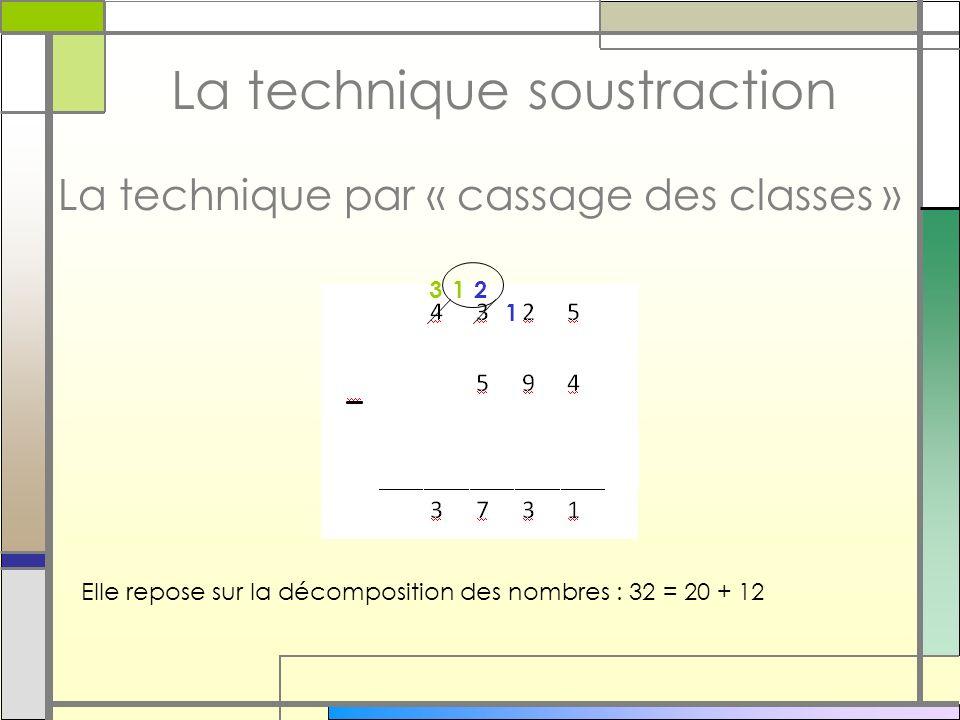 La technique soustraction La technique par « cassage des classes » Elle repose sur la décomposition des nombres : 32 = 20 + 12 1 213