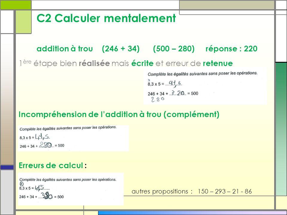 C2 Calculer mentalement addition à trou (246 + 34) (500 – 280) réponse : 220 1 ère étape bien réalisée mais écrite et erreur de retenue Incompréhensio