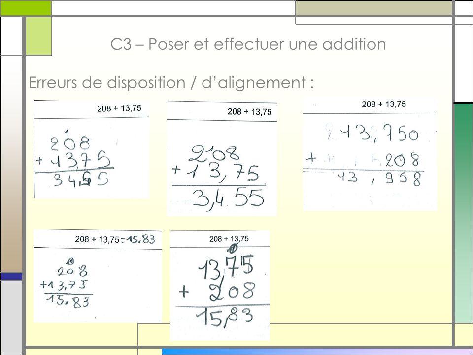 bbbbbb C3 – Poser et effectuer une addition Erreurs de disposition / dalignement :