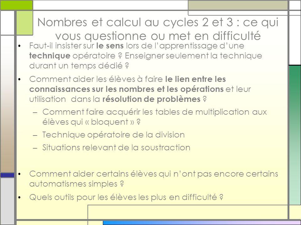 Nombres et calcul au cycles 2 et 3 : ce qui vous questionne ou met en difficulté Faut-il insister sur le sens lors de lapprentissage dune technique op