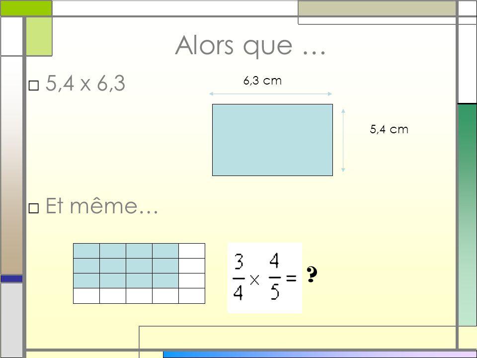 Alors que … 5,4 x 6,3 Et même… ? 6,3 cm 5,4 cm