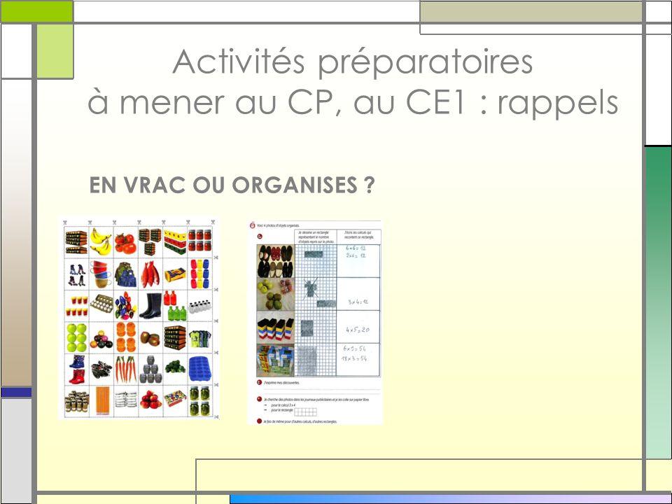 Activités préparatoires à mener au CP, au CE1 : rappels EN VRAC OU ORGANISES ?