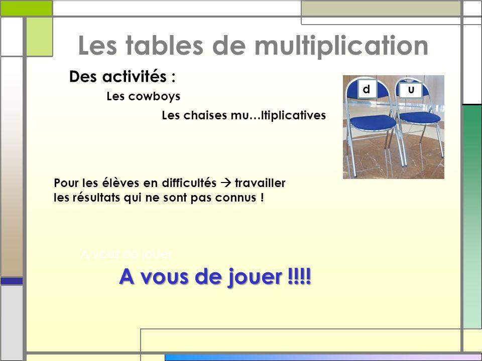 Les tables de multiplication Les cowboys Les chaises mu…ltiplicatives Des activités : du Pour les élèves en difficultés travailler les résultats qui n