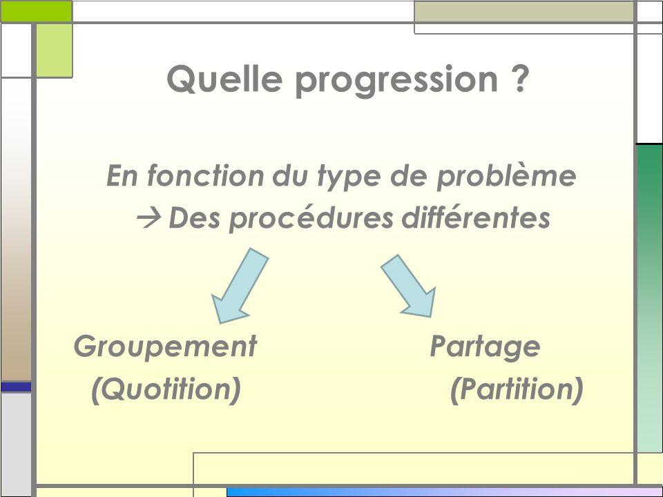 Quelle progression ? En fonction du type de problème Des procédures différentes Groupement Partage (Quotition) (Partition)