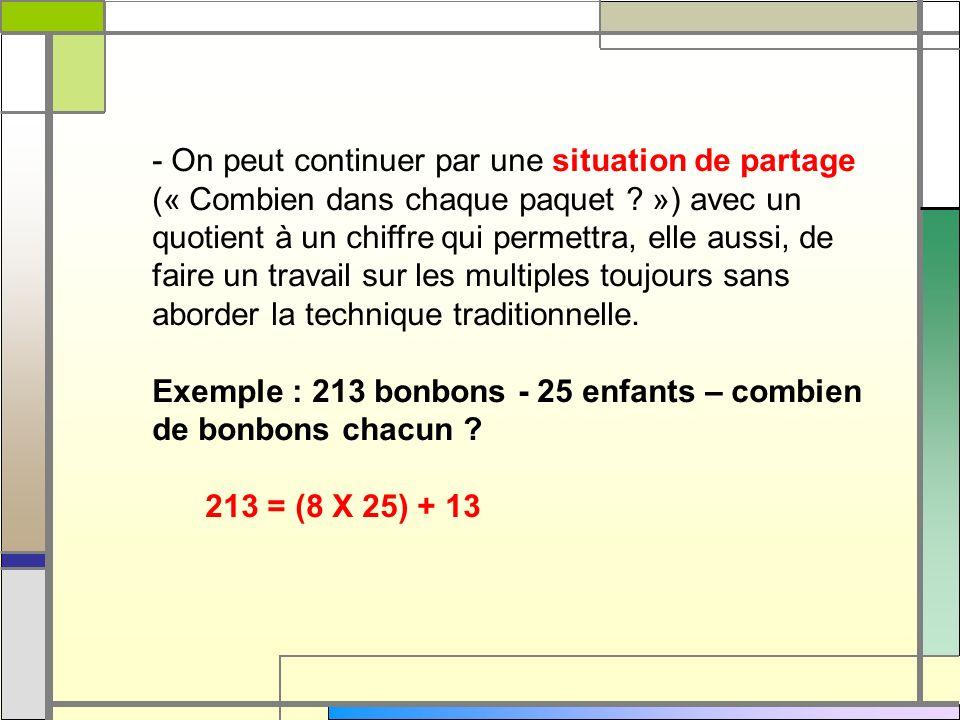- On peut continuer par une situation de partage (« Combien dans chaque paquet ? ») avec un quotient à un chiffre qui permettra, elle aussi, de faire