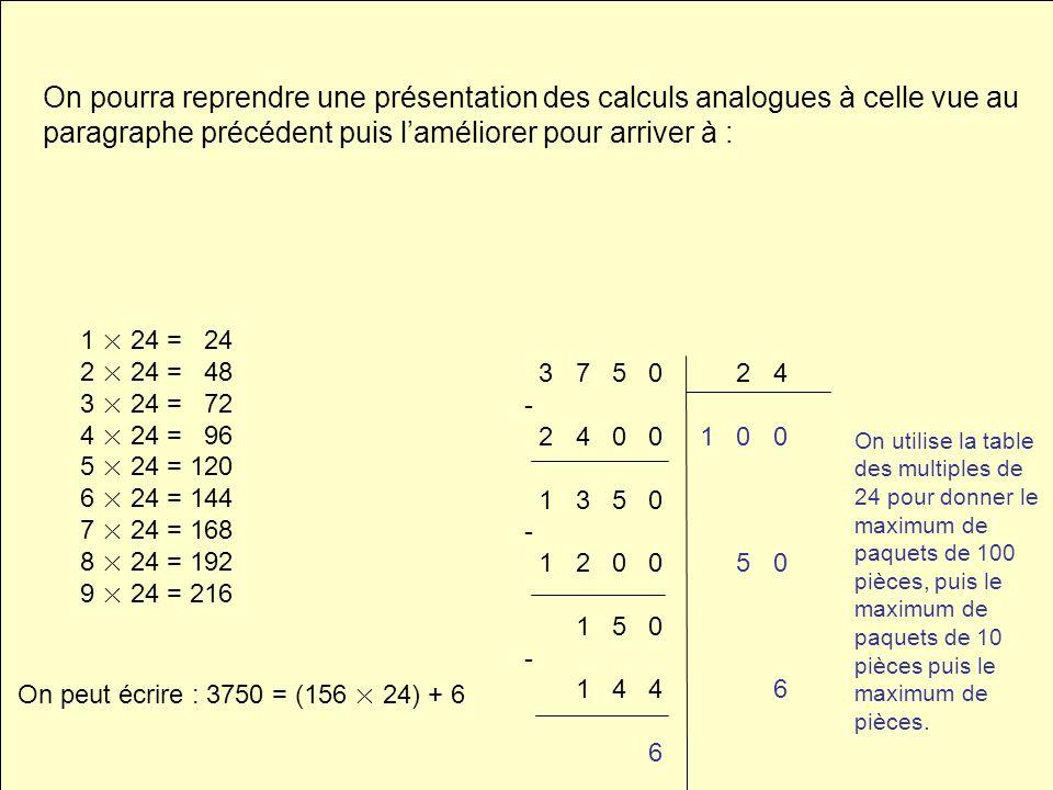 On pourra reprendre une présentation des calculs analogues à celle vue au paragraphe précédent puis laméliorer pour arriver à : 3 7 5 0 2 4 - 2 4 0 0
