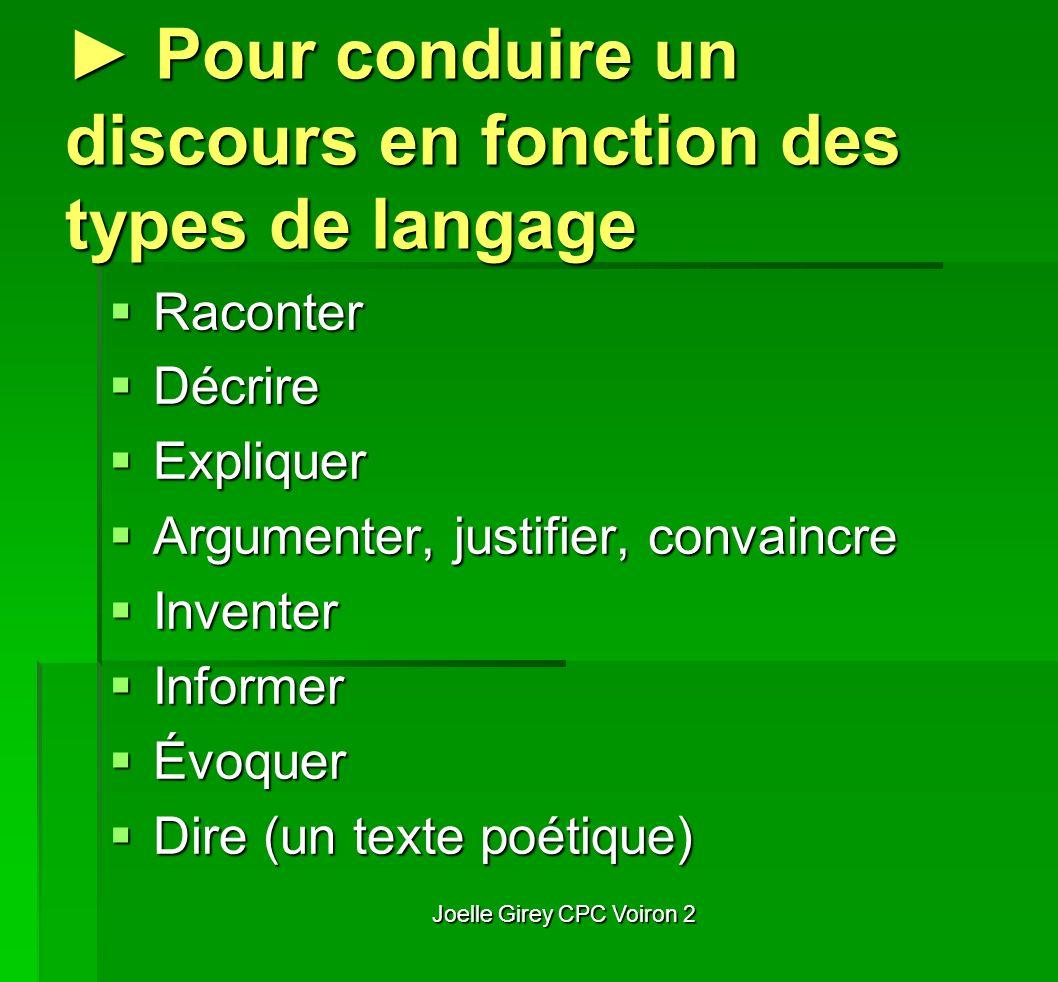 Joelle Girey CPC Voiron 2 Pour conduire un discours en fonction des types de langage Pour conduire un discours en fonction des types de langage Racont