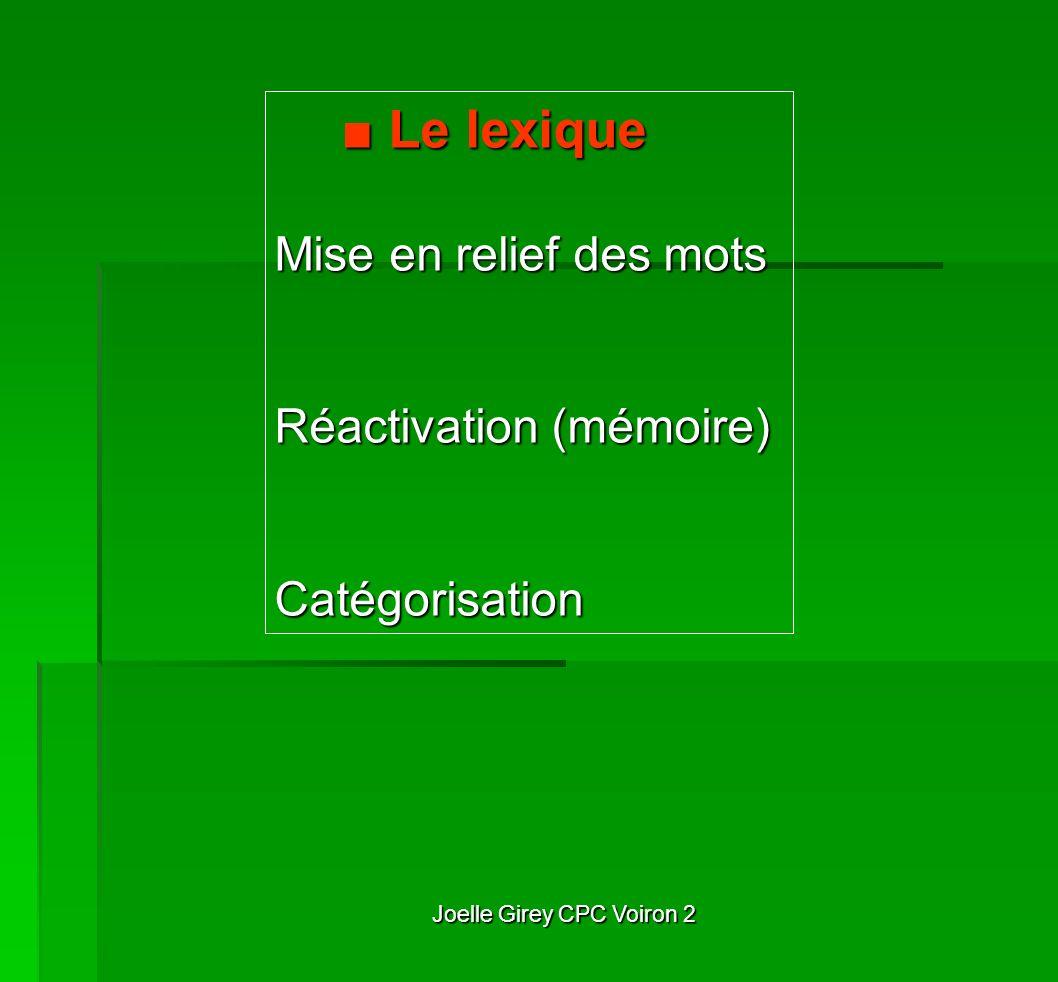 Joelle Girey CPC Voiron 2 Le lexique Le lexique Mise en relief des mots Réactivation (mémoire) Catégorisation