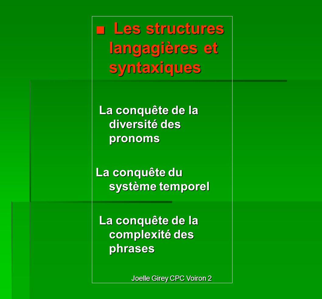 Joelle Girey CPC Voiron 2 Les structures langagières et syntaxiques Les structures langagières et syntaxiques La conquête de la diversité des pronoms