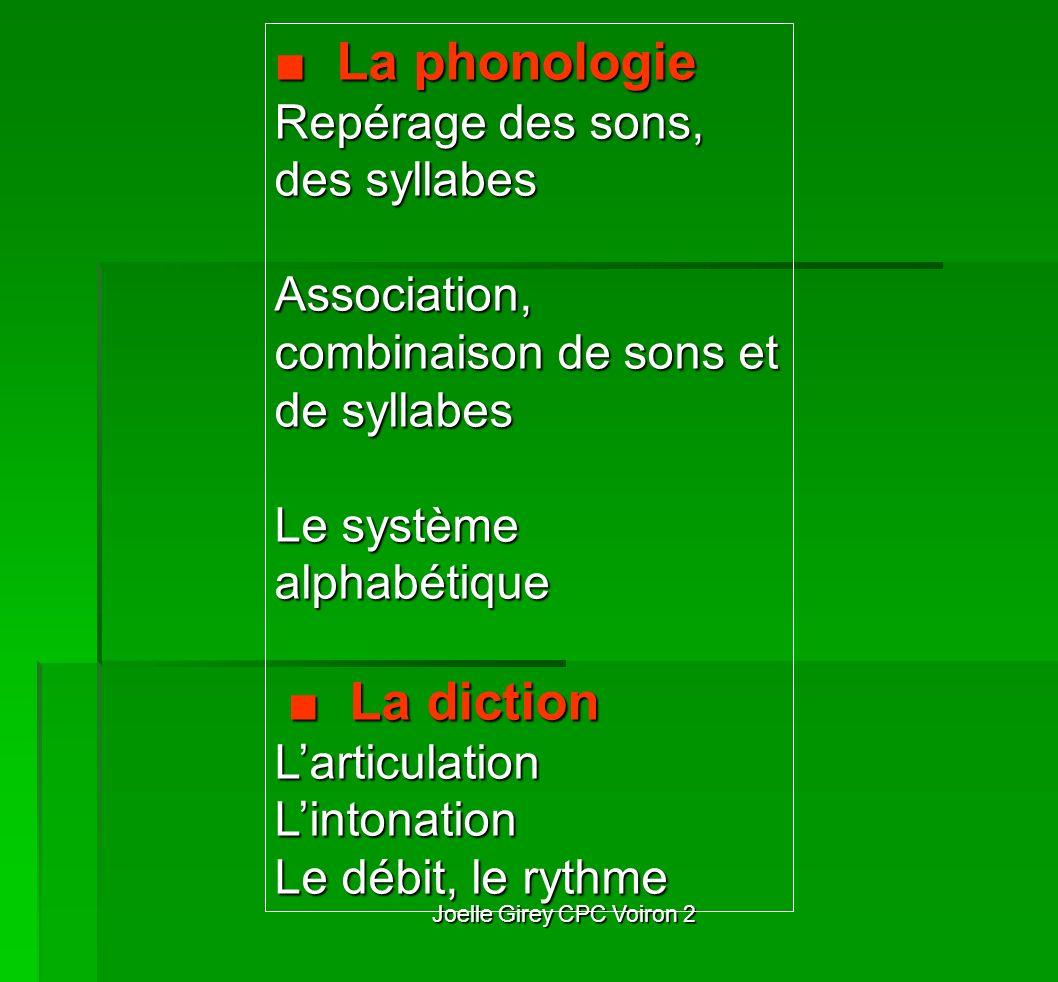 Joelle Girey CPC Voiron 2 La phonologie La phonologie Repérage des sons, des syllabes Association, combinaison de sons et de syllabes Le système alpha