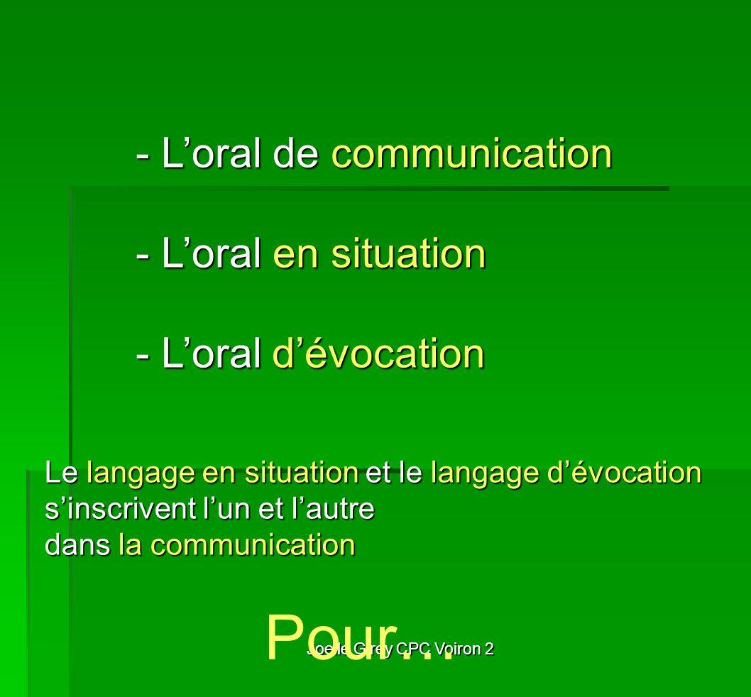 Joelle Girey CPC Voiron 2 - Loral de communication - Loral en situation - Loral dévocation Pour… Le langage en situation et le langage dévocation sins