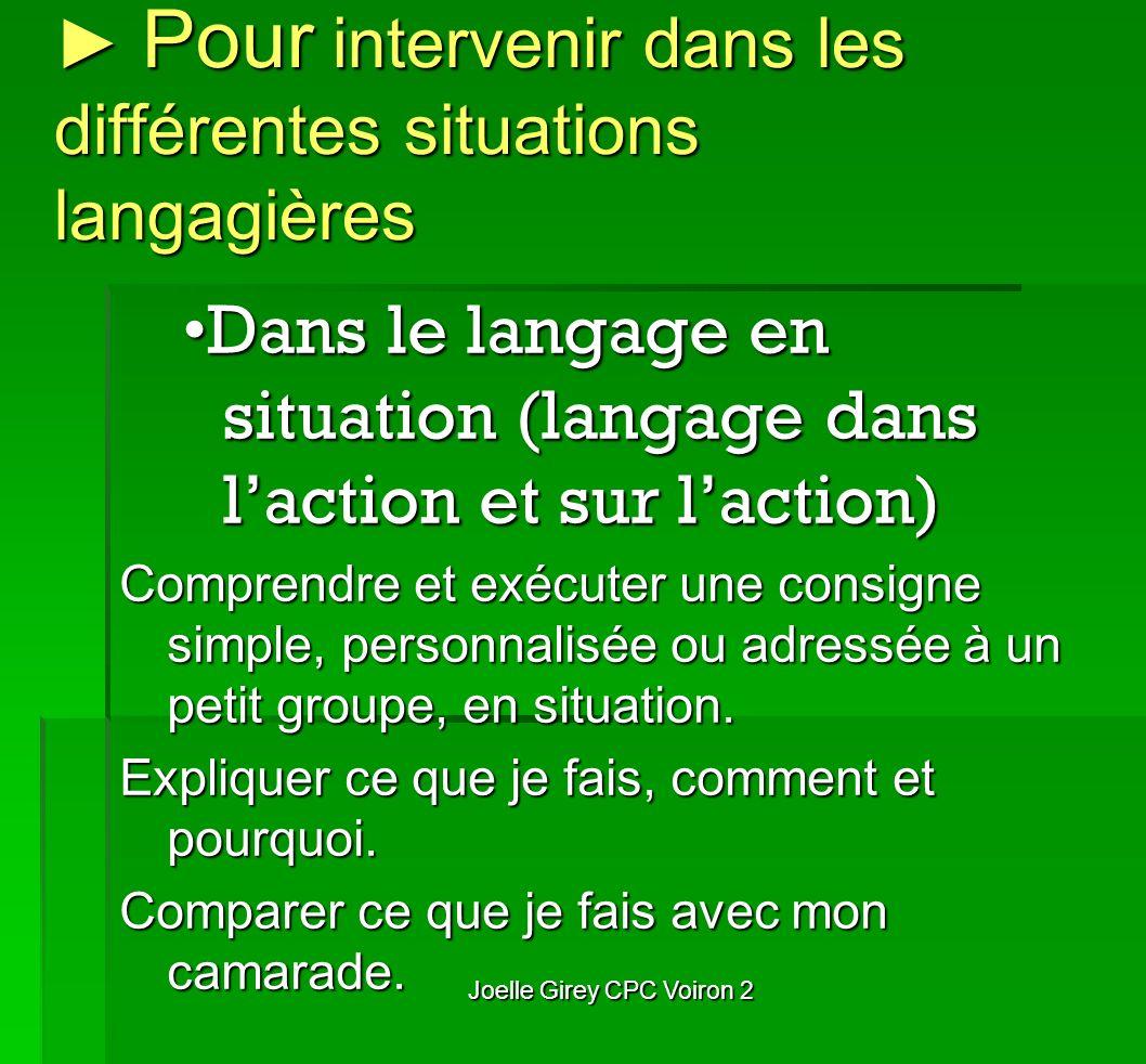 Pour intervenir dans les différentes situations langagières Pour intervenir dans les différentes situations langagières Dans le langage en situation (