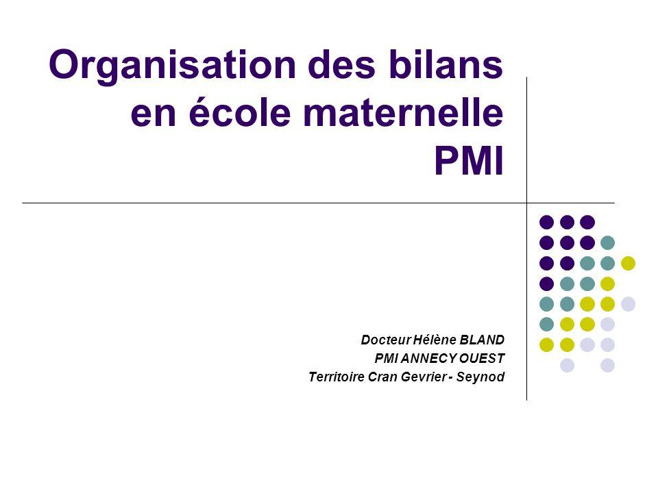 Organisation des bilans en école maternelle PMI Docteur Hélène BLAND PMI ANNECY OUEST Territoire Cran Gevrier - Seynod
