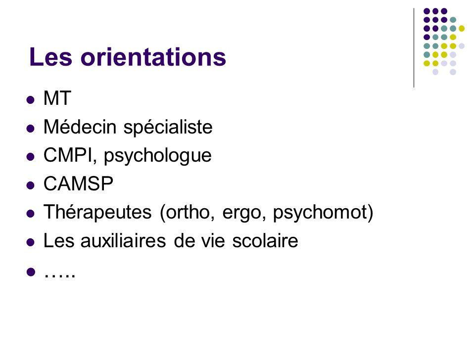 Les orientations MT Médecin spécialiste CMPI, psychologue CAMSP Thérapeutes (ortho, ergo, psychomot) Les auxiliaires de vie scolaire …..