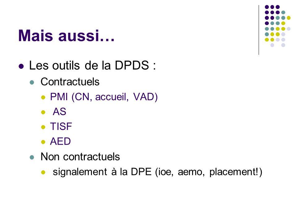 Mais aussi… Les outils de la DPDS : Contractuels PMI (CN, accueil, VAD) AS TISF AED Non contractuels signalement à la DPE (ioe, aemo, placement!)
