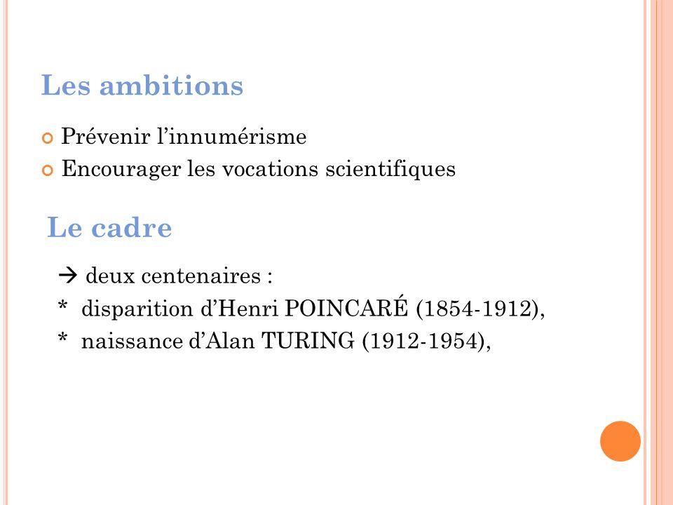 Les ambitions Prévenir linnumérisme Encourager les vocations scientifiques Le cadre deux centenaires : * disparition dHenri POINCARÉ (1854-1912), * naissance dAlan TURING (1912-1954),