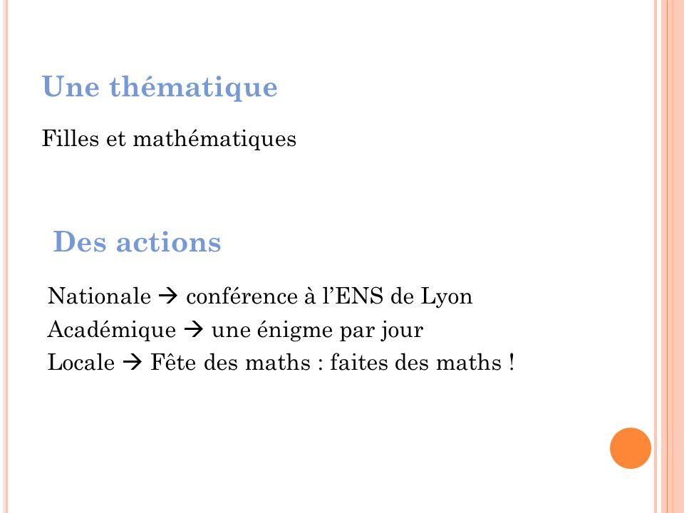 Une thématique Filles et mathématiques Des actions Nationale conférence à lENS de Lyon Académique une énigme par jour Locale Fête des maths : faites des maths !