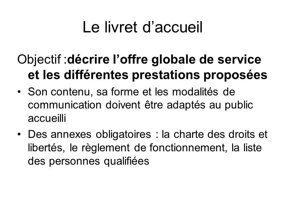 Le livret daccueil Objectif :décrire loffre globale de service et les différentes prestations proposées Son contenu, sa forme et les modalités de comm