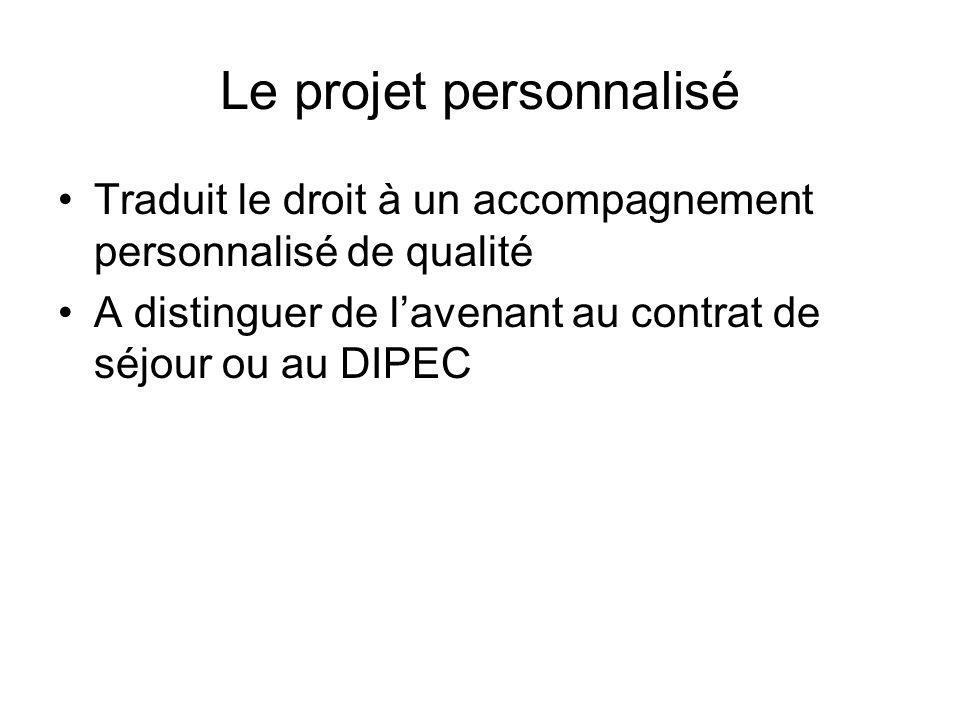 Le projet personnalisé Traduit le droit à un accompagnement personnalisé de qualité A distinguer de lavenant au contrat de séjour ou au DIPEC