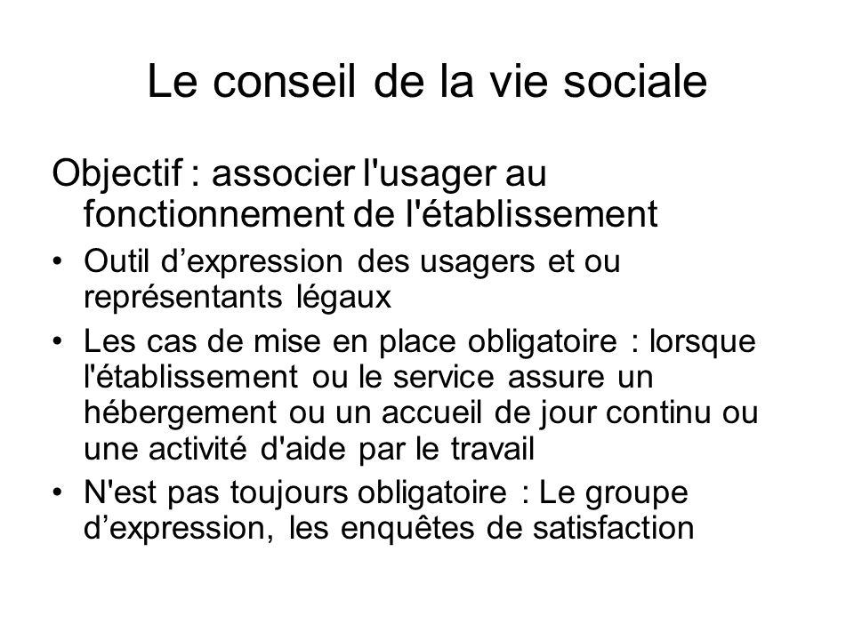 Le conseil de la vie sociale Objectif : associer l'usager au fonctionnement de l'établissement Outil dexpression des usagers et ou représentants légau