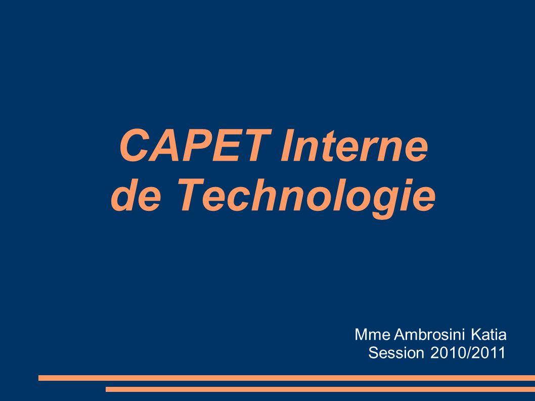CAPET Interne de Technologie Mme Ambrosini Katia Session 2010/2011