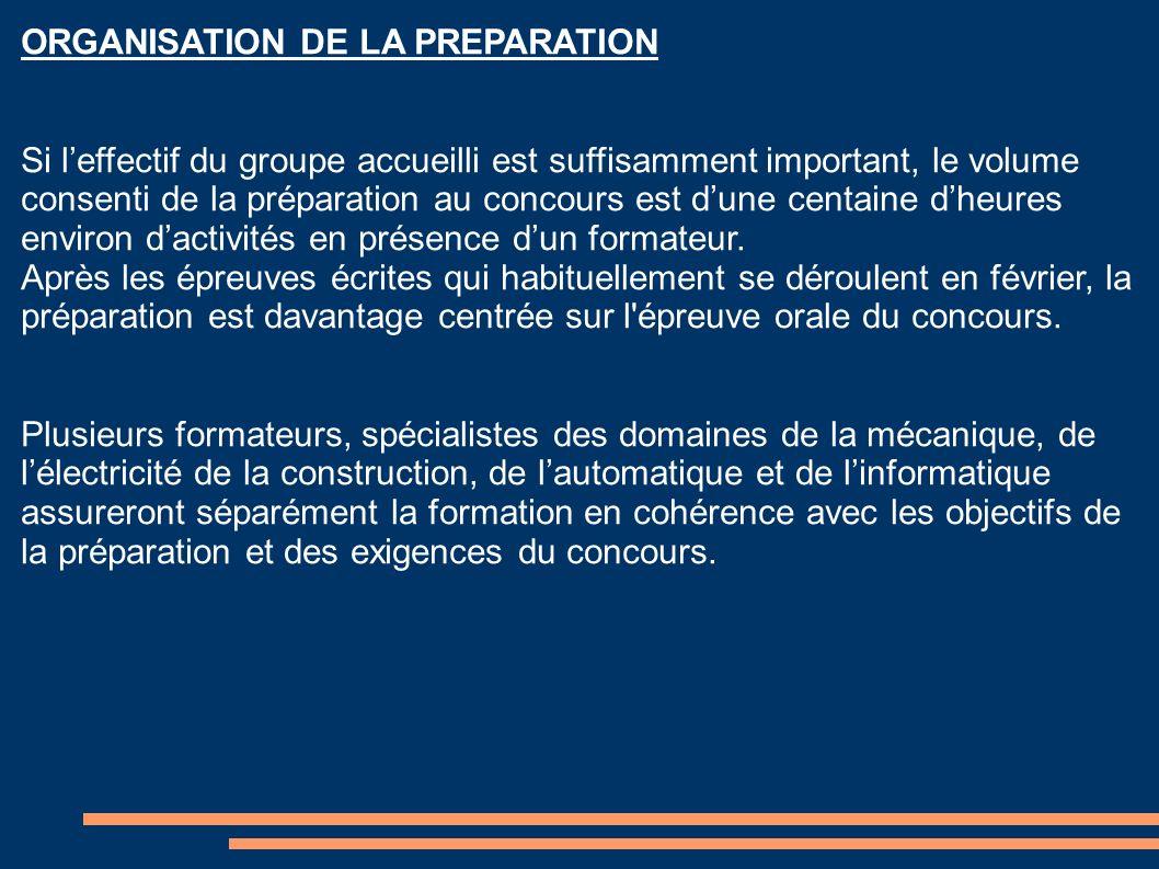 ORGANISATION DE LA PREPARATION Si leffectif du groupe accueilli est suffisamment important, le volume consenti de la préparation au concours est dune