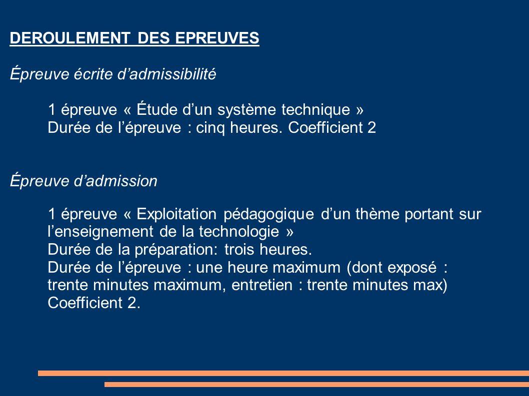 DEROULEMENT DES EPREUVES Épreuve écrite dadmissibilité 1 épreuve « Étude dun système technique » Durée de lépreuve : cinq heures. Coefficient 2 Épreuv