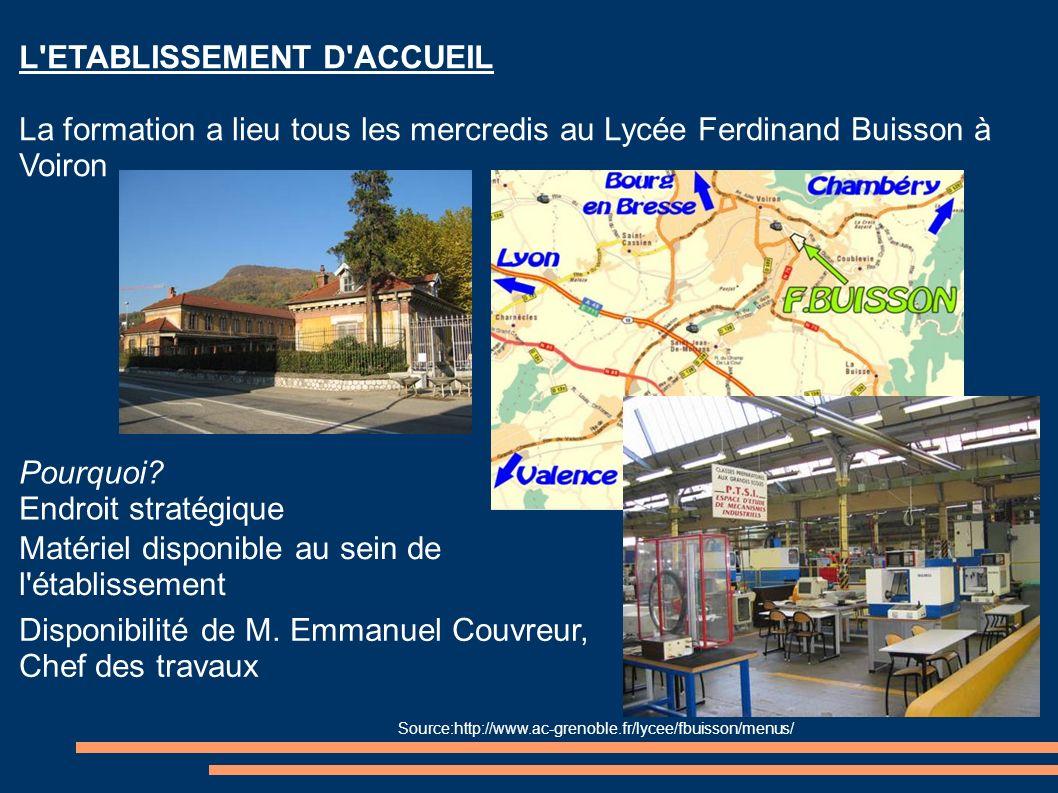 L'ETABLISSEMENT D'ACCUEIL La formation a lieu tous les mercredis au Lycée Ferdinand Buisson à Voiron Pourquoi? Endroit stratégique Matériel disponible