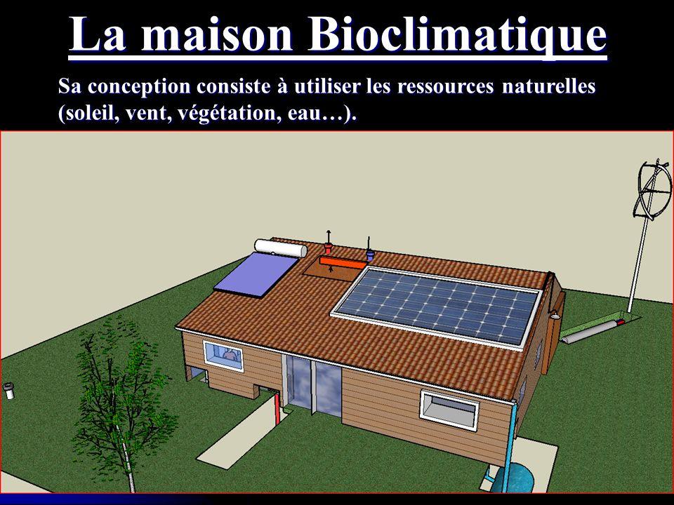 La maison Bioclimatique Sa conception consiste à utiliser les ressources naturelles (soleil, vent, végétation, eau…).