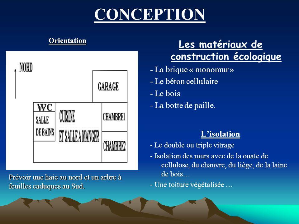 CONCEPTION Les matériaux de construction écologique - La brique « monomur » - Le béton cellulaire - Le bois - La botte de paille. Lisolation - Le doub