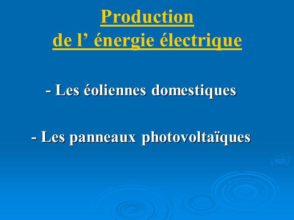 Production de l énergie électrique - Les éoliennes domestiques - Les panneaux photovoltaïques