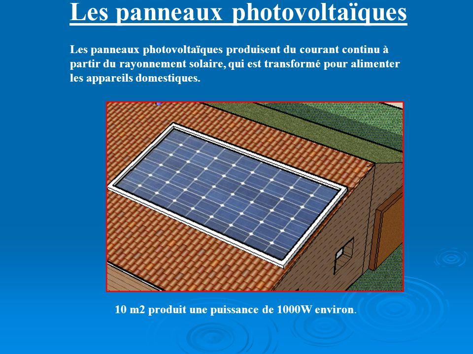 Les panneaux photovoltaïques 10 m2 produit une puissance de 1000W environ. Les panneaux photovoltaïques produisent du courant continu à partir du rayo
