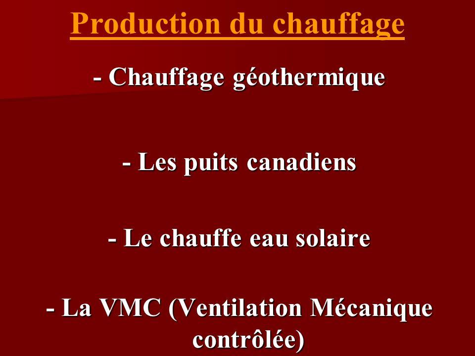 Production du chauffage - Chauffage géothermique - Les puits canadiens - Le chauffe eau solaire - La VMC (Ventilation Mécanique contrôlée)