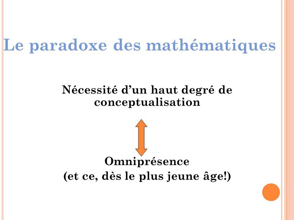 Le paradoxe des mathématiques Nécessité dun haut degré de conceptualisation Omniprésence (et ce, dès le plus jeune âge!)