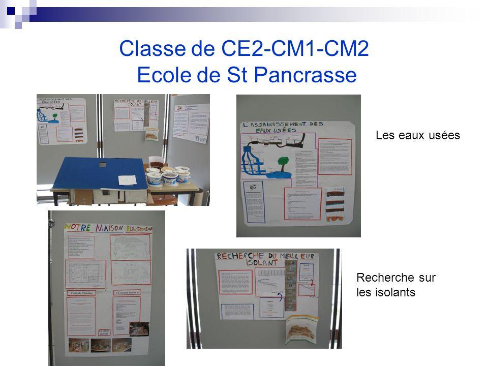 Classe de CE2-CM1-CM2 Ecole de St Pancrasse Recherche sur les isolants Les eaux usées