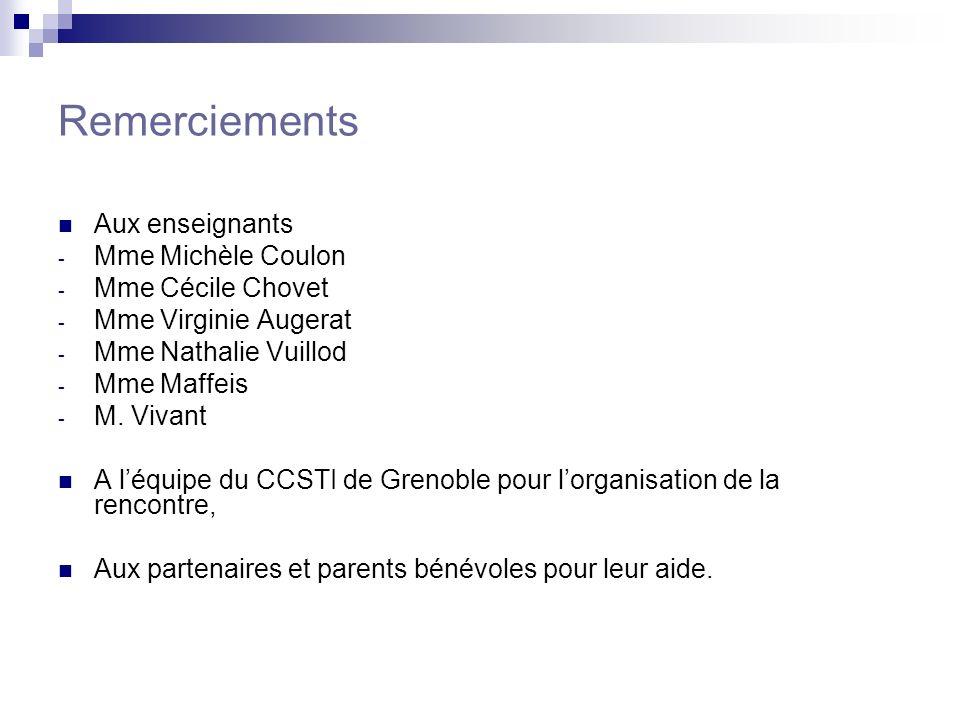 Remerciements Aux enseignants - Mme Michèle Coulon - Mme Cécile Chovet - Mme Virginie Augerat - Mme Nathalie Vuillod - Mme Maffeis - M. Vivant A léqui