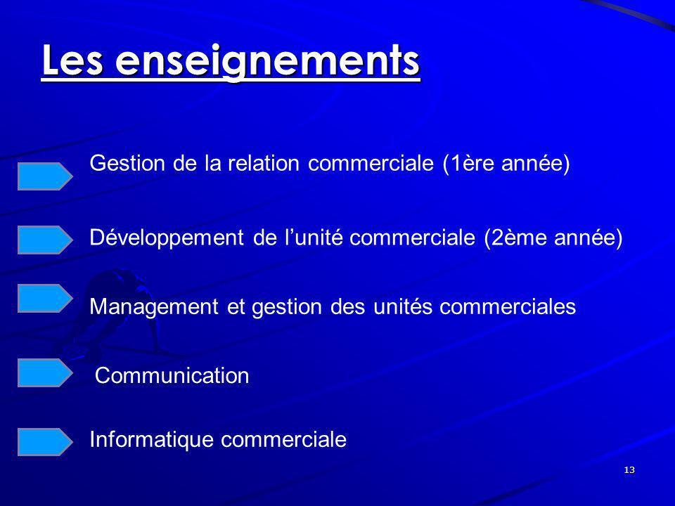 13 Les enseignements Gestion de la relation commerciale (1ère année) Développement de lunité commerciale (2ème année) Management et gestion des unités