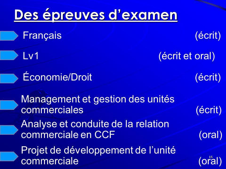 15 Des épreuves dexamen Français (écrit) Lv1(écrit et oral) Économie/Droit (écrit) Management et gestion des unités commerciales (écrit) Analyse et co