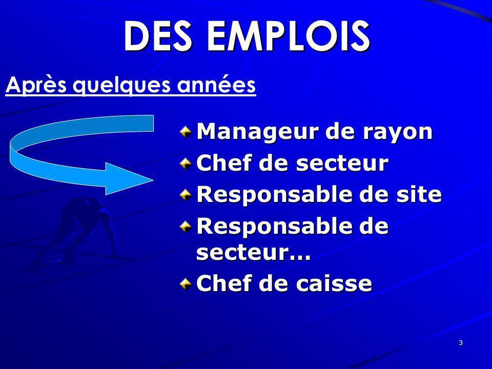 3 DES EMPLOIS Après quelques années Manageur de rayon Chef de secteur Responsable de site Responsable de secteur… Chef de caisse
