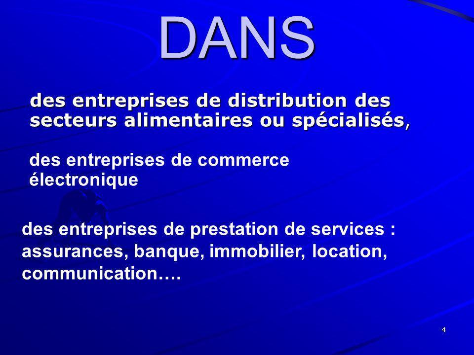 4 DANS des entreprises de distribution des secteurs alimentaires ou spécialisés, des entreprises de commerce électronique des entreprises de prestatio
