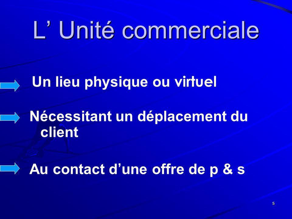 5 L Unité commerciale Un lieu physique ou virtuel Nécessitant un déplacement du client Au contact d une offre de p & s
