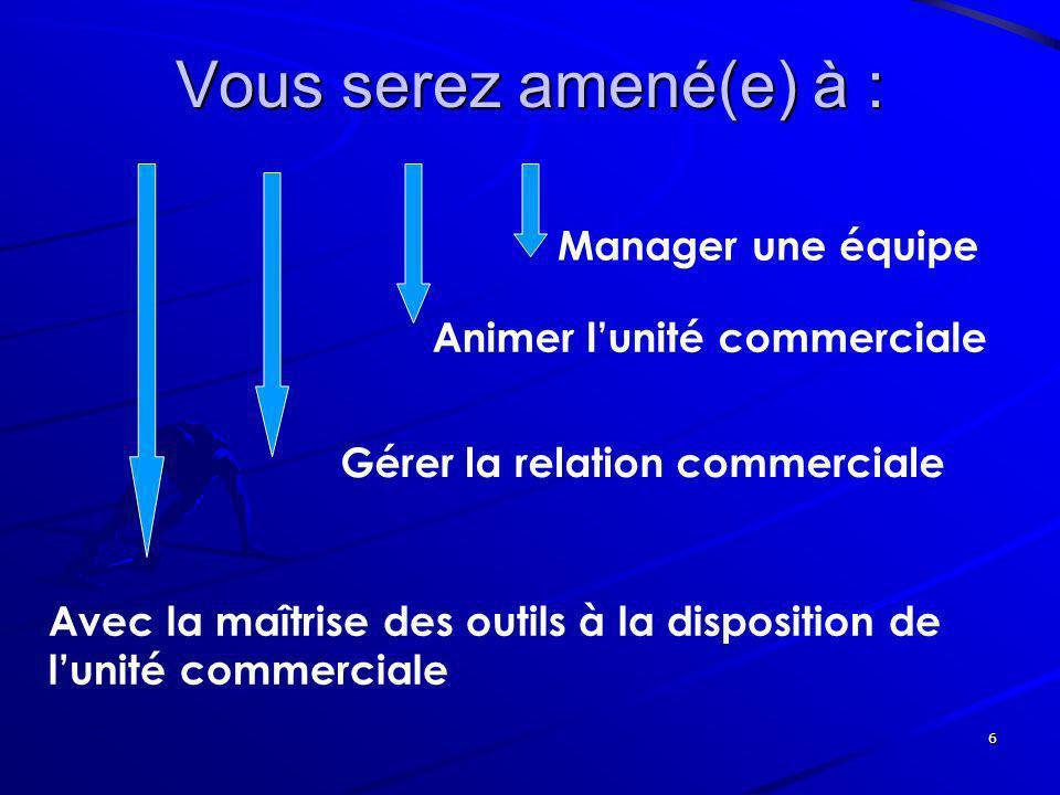 6 Vous serez amené(e) à : Manager une équipe Animer lunité commerciale Gérer la relation commerciale Avec la maîtrise des outils à la disposition de l