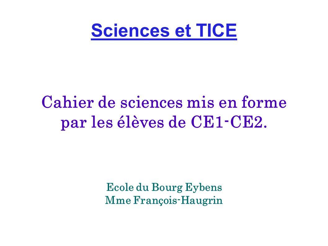 Sciences et TICE Cahier de sciences mis en forme par les élèves de CE1-CE2. Ecole du Bourg Eybens Mme François-Haugrin