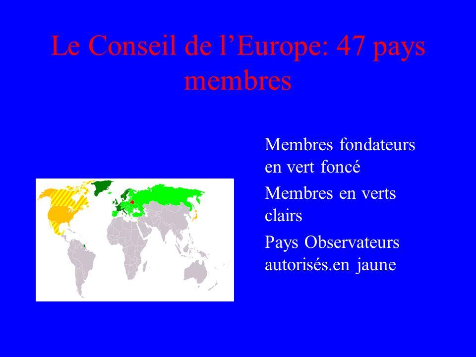 Le Conseil de lEurope: 47 pays membres Membres fondateurs en vert foncé Membres en verts clairs Pays Observateurs autorisés.en jaune
